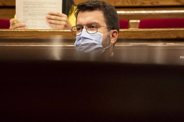 El president de la Generalitat, Pere Aragonès durant el Debat de Política General.