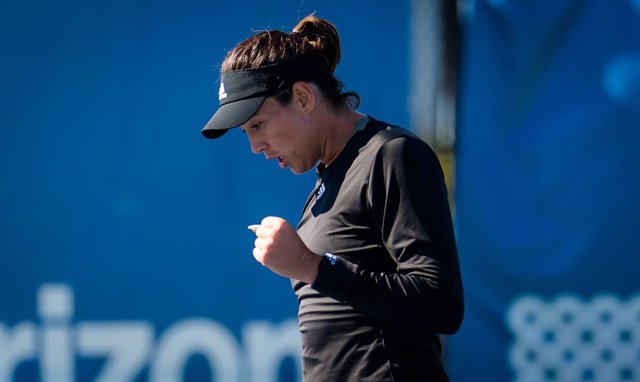 Garbine Muguruza of Spain in action during the first round of the 2021 Chicago Fall Tennis Classic WTA 500 tennis tournament against Ann Li of United States