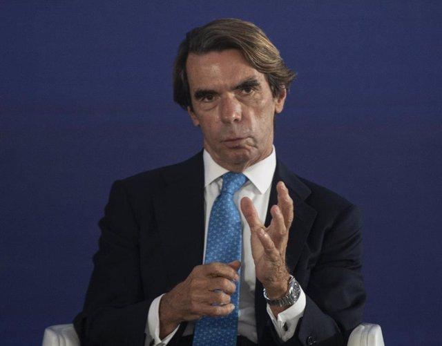 El expresidente del Gobierno José María Aznar, durante su intervención en la convención sobre 'La fortaleza de las instituciones' en el marco de la Convención Nacional del PP.