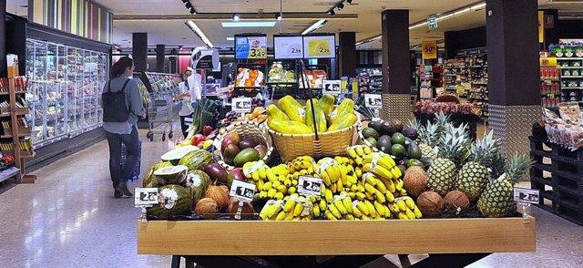 Imatge de plàtans en un supermercat de Caprabo