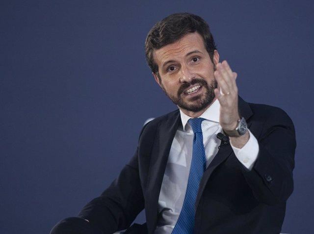 El president del PP, Pablo Casado, durant la seva intervenció en la convenció