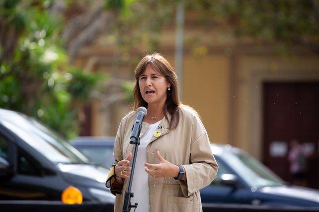 La presidenta del Parlament, Laura Borràs, en l'acte de commemoració d'Òmnium del quart aniversari de l'1-O