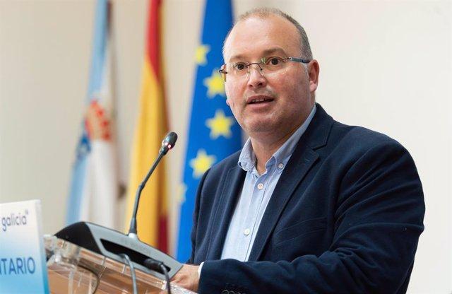 El secretario general del PPdeG, Miguel Tellado, en rueda de prensa.
