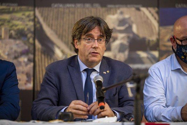 L'expresident de la Generalitat Carles Puigdemont, en una roda de premsa a 25 de setembre de 2021, en L?L'Alguer, Sardenya (Itàlia).