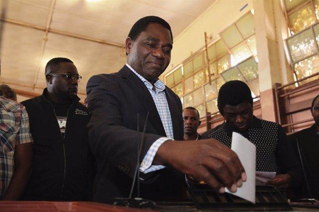 Archivo - El nuevo presidente de Zambia, Hakainde Hichilema.
