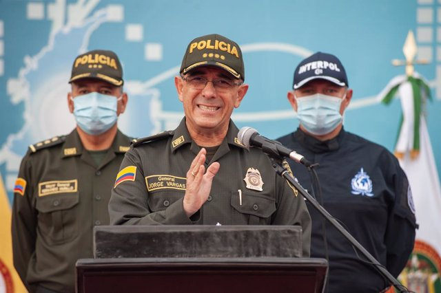 Archivo - 15 July 2021, Colombia, Bogota: Major General of Colombia's Police Jorge Luis Vargas speaks to the press to announce that 21 Colombians were involved in the assassination of Haitian President Jovenel Moise. He revealed that four Colombians were