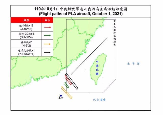 Incursión de aviones chinos en espacio aéreo taiwanés - octubre de 2021
