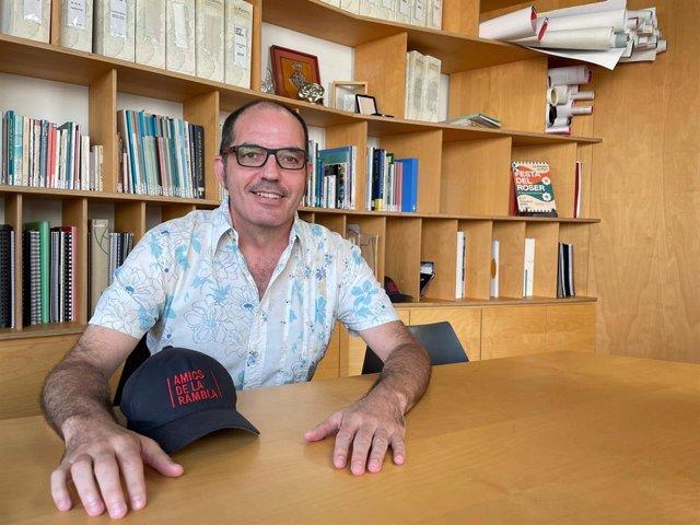 El president de l'associació Amics de la Rambla, Fermín Villar, en una entrevista d'Europa Press