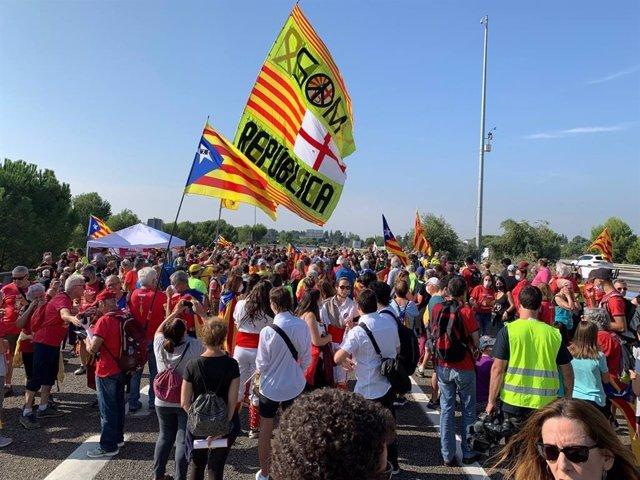 Una de les marxes convocades per l'Assemblea Nacional Catalana (ANC) pel quart aniversari de el 1-O
