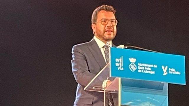 El president de la Generalitat, Pere Aragonès, a Sant Feliu de Llobregat (Barcelona)