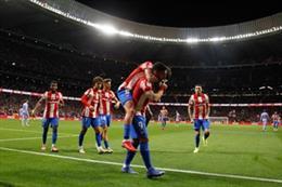 Luis Suárez celebra el 2-0 del Atlético de Madrid en el partido frente al FC Barcelona disputado en el Wanda Metropolitano
