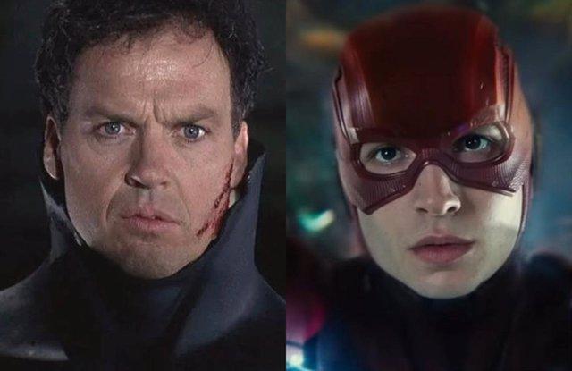 Michael Keaton como Batman y Ezra Miller como Flash