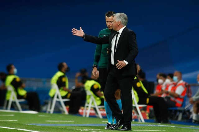 Carlo Ancelotti, coach of Real Madrid, protest during the UEFA Champions League, Group D, football match played between Real Madrid and FC Sheriff Tiraspol at Santiago Bernabeu stadium on Septenber 28, 2021, in Madrid, Spain.