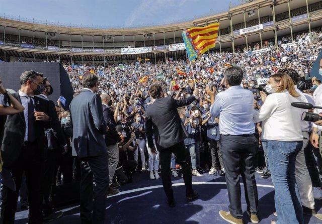El president del PP, Pablo Casado en l'acte de clausura de la Convenció Nacional del PP, a la Plaça de Toros de València