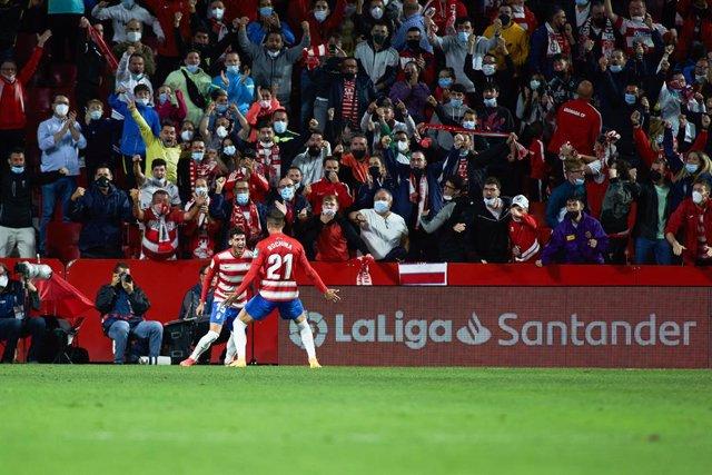 Ruben Rochina celebra el gol del triunfo del Granada ante el Sevilla