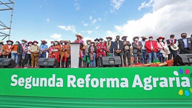 El presidente de Perú, Pedro Castillo, durante el lanzamiento de la Segunda Reforma Agraria del país