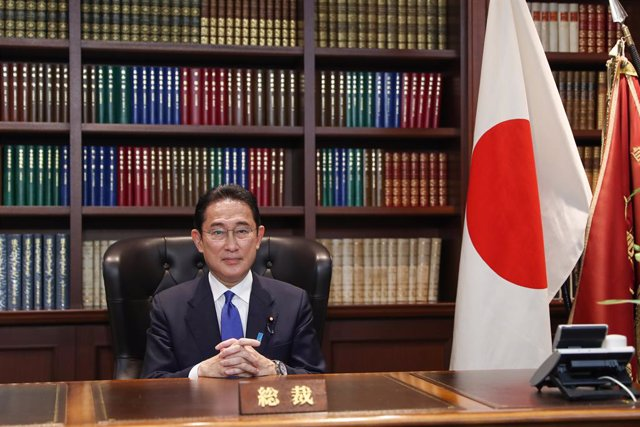 29 September 2021, Japan, Tokyo: Former Japanese Foreign Minister Fumio Kishida poses for a picture at his office following his press conference. Kishida was elected as the Liberal Democratic Party (LDP) Party President at the party's headquarters in Toky