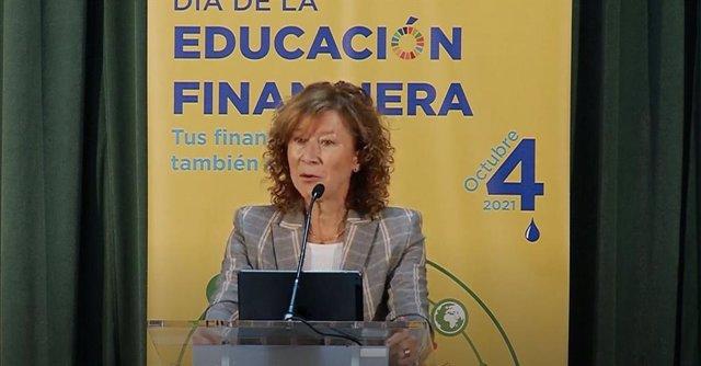La subgobernadora del Banco de España, Margarita Delgado, durante el Día de la Educación Financiera celebrado el 4 de octubre de 2021