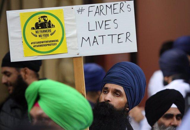 Imagen de archivo de protestas del sector agrícola indio