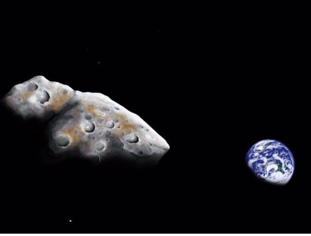 Una impresión artística de un sobrevuelo cercano del asteroide cercano a la Tierra rico en metales 1986 DA. Los astrónomos que utilizan la instalación del telescopio infrarrojo de la NASA han confirmado que el asteroide está compuesto en un 85% de metal.