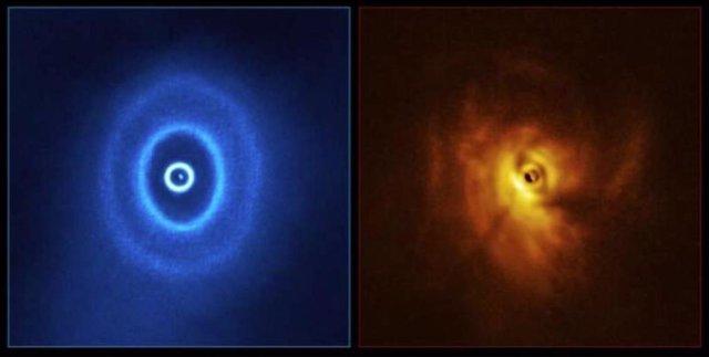 Una imagen de GW Orionis, un sistema de estrellas triples con un misterioso espacio en los anillos de polvo circundantes.
