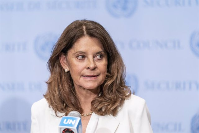 Archivo - 13 July 2021, US, New York: Colombian Vice-President and Foreign Minister Marta Lucia Ramirez speaks during a press conference after the Security Council meeting on Colombia at UN Headquarters. Photo: Lev Radin/ZUMA Wire/dpa