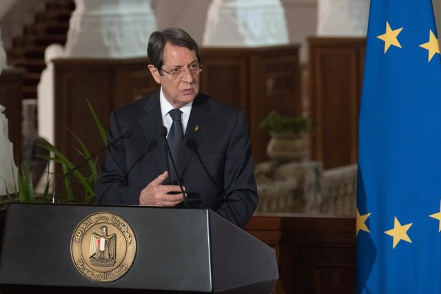 HANDOUT - 04 September 2021, Egypt, Cairo: President of Cyprus Nicos Anastasiades attends a joint press conference with the President of Egypt Abdel Fattah Al-Sisi (not pictured) at the Presidential Palace. Photo: Stavros Ioannidis/Cypriot Government/dpa