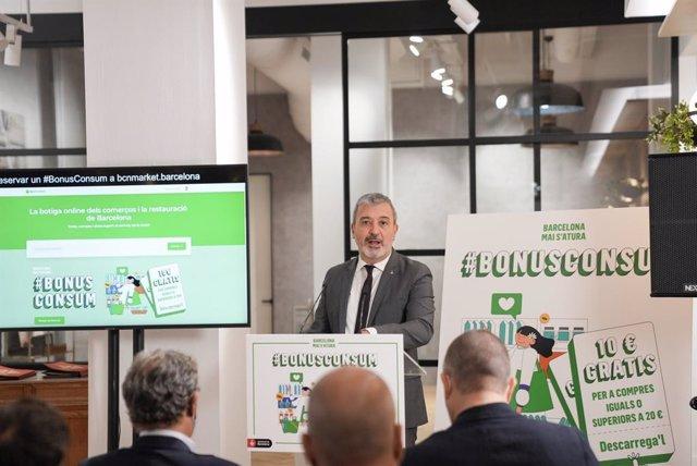 El primer tinent d'alcalde de Barcelona, Jaume Collboni, presenta la plataforma BCNMarket i el 'Bonus Consum'