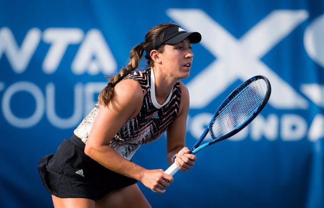 Jessica Pegula of the United States in action during the third round at the 2021 Chicago Fall Tennis Classic WTA 500 tennis tournament against Ons Jabeur of Tunisia