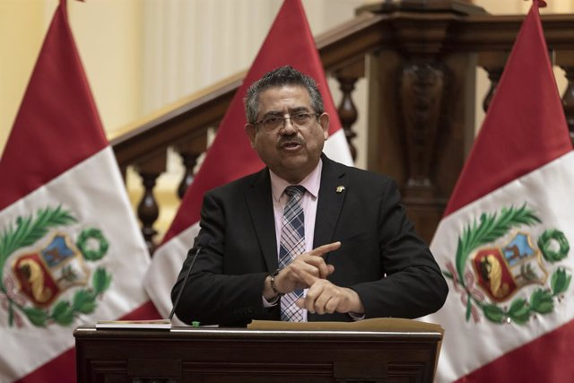 Archivo - Presidente del Congreso de Perú, Manuel Merino.