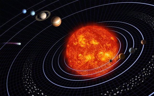 Representación artística del Sistema Solar