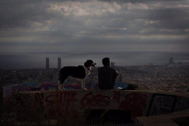 Archivo - Un joven mira el paisaje en el mirador Turó de la Rovira, en Barcelona.