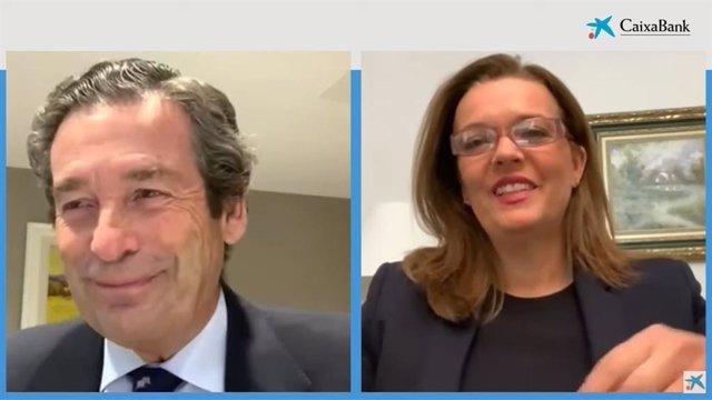 El director ejecutivo de Banca de Empresas de CaixaBank, Luis Cabanas, y la directora de Banca Negocios de CaixaBank, Ana Díez