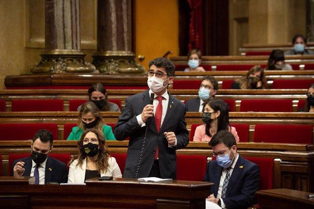 El vicepresident i conseller de Polítiques Digitals i Territori de la Generalitat, Jordi Puigneró, al Parlament