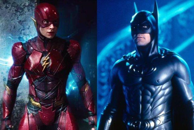 Flash de Ezra Miller y Batman de George Clooney