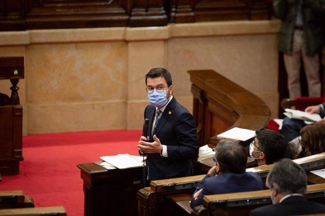 El president de la Generalitat, Pere Aragonès, al Parlament de Catalunya