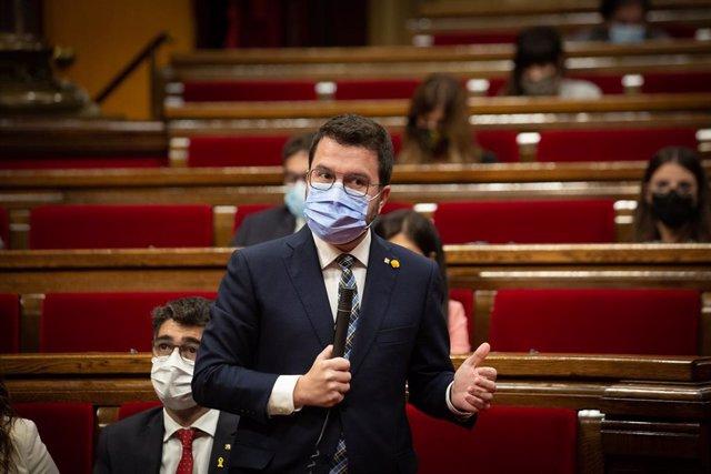 El president de la Generalitat, Pere Aragonès, al Parlament