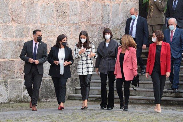 La Reina Letizia llega a San Millán de la Cogolla para cerrar el Seminario Internacional de la Lengua y el Periodismo