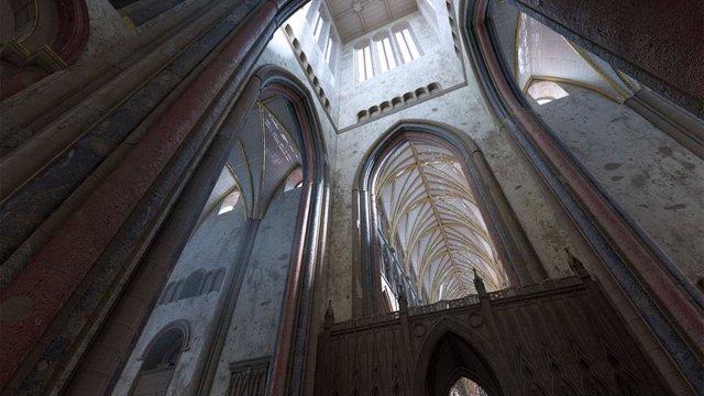 Vista del interior de la Catedral de San Pablo como se vería en 1622, antes de que fuera destruida en el Gran Incendio de 1666.