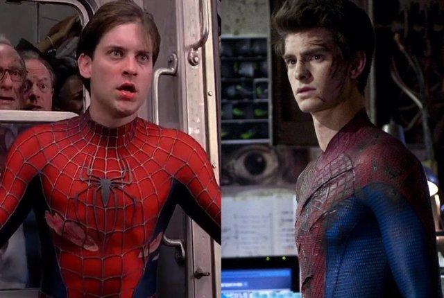 Archivo - Tobey Maguire y Andrew Garfield como Spider-Man