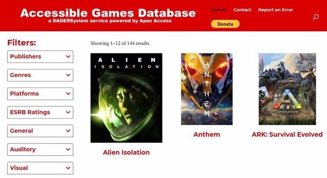 Base de datos de juegos accesibles