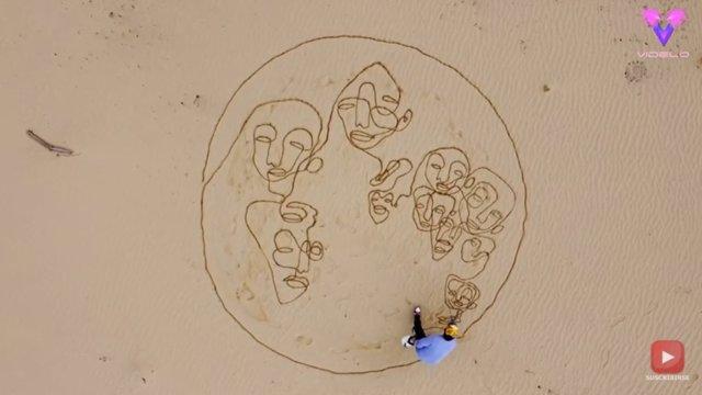 Este artista holandés crea hipnóticos retratos abstractos de un solo trazo en la arena
