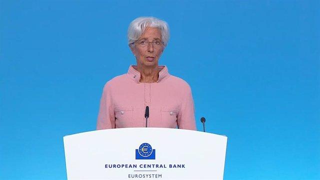 La presidenta del BCE, Christine Lagarde, durante la rueda de prensa posterior a la reunión de política monetaria del BCE el 09/09/2021.