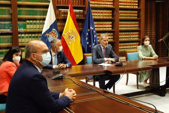 Felipe VI se reúne por videoconferenica con el Comité Director y el Comité Científico del Pevolca para conocer la evolución de la erupción volcánica