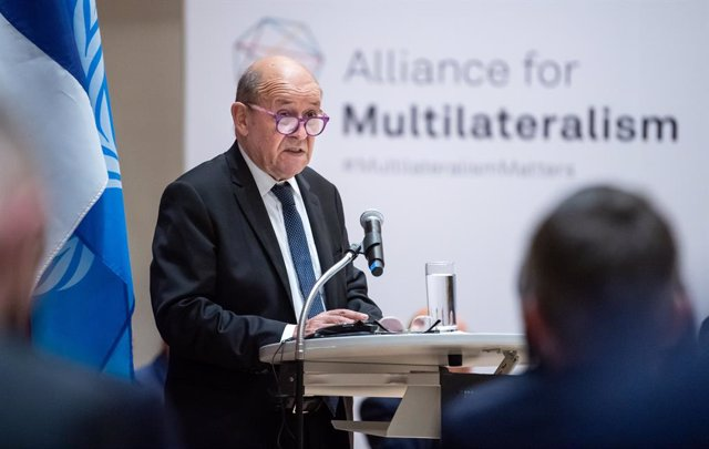 23 September 2021, US, New York: French Foreign Minister Jean-Yves Le Drian speaks during a meeting of the Alliance for Multilateralism at the German House, the Permanent Mission of the Federal Republic of Germany to the United Nations. Photo: Bernd von J