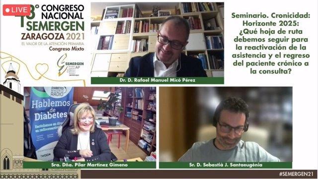Los tres encargados del seminario virtual, Rafael Micó (Arriba), Pilar Martínez (izquierda) y Sebastià Santaeugèni (derecha)