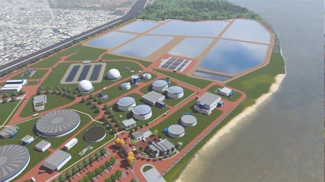 Simulación de la depuradora que construirá Acciona en Ecuador