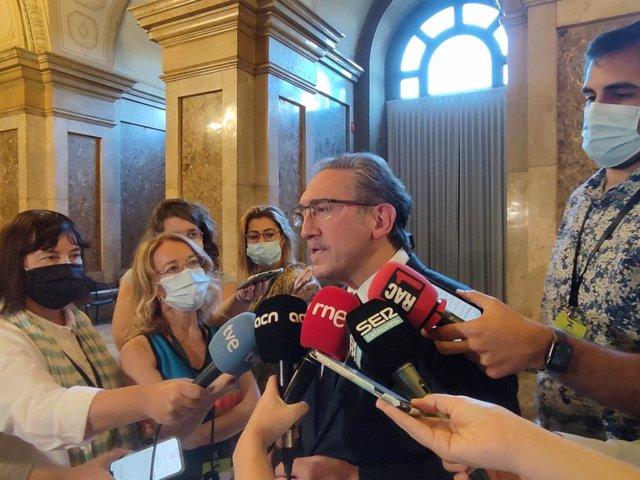 El conseller d'Economia i Hisenda de la Generalitat, Jaume Giró, en declaracions als periodistes aquest dijous al Parlament