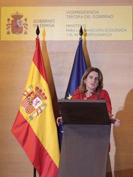 La vicepresidenta tercera y ministra para la Transición Ecológica y el Reto Demográfico, Teresa Ribera, interviene durante la clausura de la jornada sobre la elaboración del Nuevo Programa de Acción Nacional contra la Desertificación.