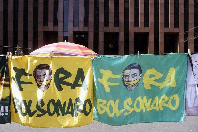 Manifestación en Sao Paulo contra el presidente de Brasil, Jair Bolsonaro.